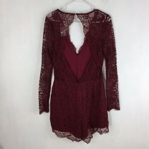 Lovers & Friends Eve Lace Open Back Romper Red